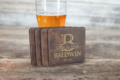 Personalized Leather Coasters  -  Imprint Initial