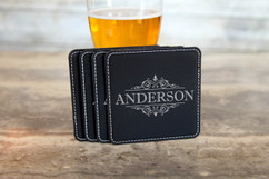 Personalized Leather Coasters  -  Vine Border