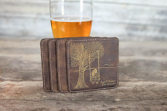 Personalized Leather Coasters  -  Tree Swing