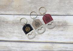 Personalized Leather Key Chain Bottle Opener - Circle Vine Monogram