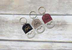 Personalized Leather Key Chain Bottle Opener - Follow Your Arrow