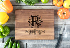 Walnut Personalized Cutting Board ~ Floral Initial