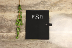 Leather Book Cover - Masculine Monogram