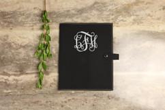 Leather Book Cover - Vine Monogram