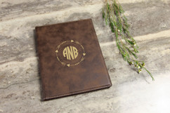 Leather Portfolio - Arrow Circle Monogram
