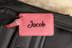 Personalized Leather Luggage Tag - Cursive