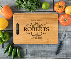 Handle Vintage Family Name Personalized Cutting Board