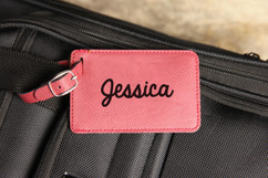 Personalized Leather Luggage Tag - Bold Cursive