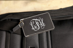 Personalized Leather Luggage Tag - Vine Monogram