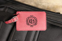 Personalized Leather Luggage Tag - Circle Vine Monogram