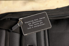 Engraved Leather Luggage Tag - Traveling