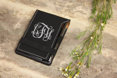 Personalized Leather Notepad - Vine Monogram