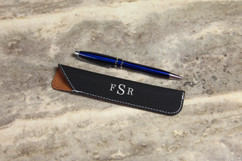 Personalized Leather Pen Pouch - Masculine Monogram
