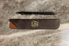 Personalized Leather Pen Pouch - Vine Monogram