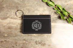 Personalized Leather Key Ring Wallet - Circle Vine Monogram