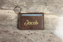 Personalized Leather Key Ring Wallet - Cursive