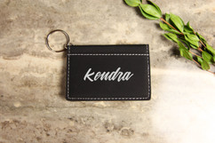 Personalized Leather Key Ring Wallet - Calligraphy
