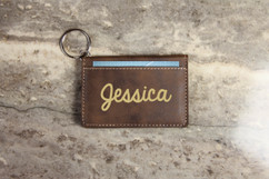 Personalized Leather Key Ring Wallet - Bold Cursive