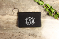 Personalized Leather Key Ring Wallet - Vine Monogram