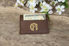 Personalized Leather Wallet - Circle Monogram