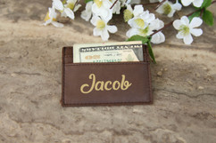 Personalized Leather Wallet - Cursive