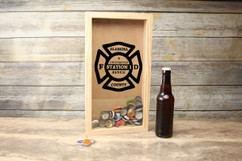 Personalized Shadow Box - Vertical Fireman Shield