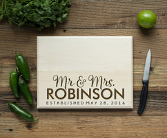 Bottom Name Personalized Cutting Board BW