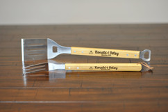 Personalized Bamboo Grilling Utensil Set - Love Birds