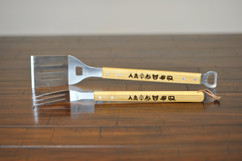 Engraved Bamboo Grilling Utensil Set - Camping