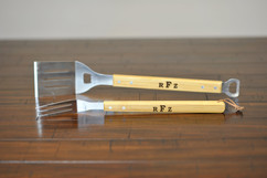 Personalized Bamboo Grilling Utensil Set - Masculine Monogram
