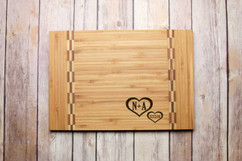 Inlay Personalized Cutting Board - Corner Hearts