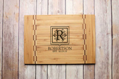 Inlay Personalized Cutting Board - Floral Initial