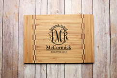 Inlay Personalized Cutting Board - Couples Monogram