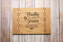 Inlay Personalized Cutting Board - Stacked Names