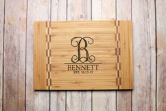 Inlay Personalized Cutting Board - Vine Initial