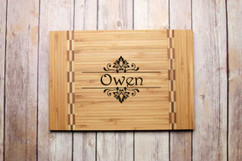Inlay Personalized Cutting Board - Floral Family Name