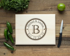 Circle Initial Personalized Cutting Board BW