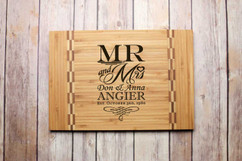 Inlay Personalized Cutting Board - Mr. & Mrs. Stacked