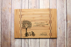 Inlay Personalized Cutting Board - Bike Tree