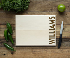 Side Vertical Family Name Cutting Board BW
