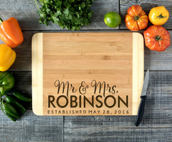 Bottom Mr Mrs Name Personalized Cutting Board HDS