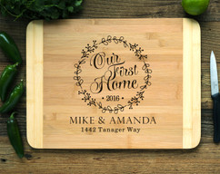 Our First Home Wreath Personalized Cutting Board HDS