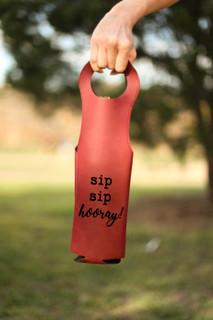 LUX  -  Leather Bottle Tote Bag - Sip Sip Hooray