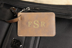 LUX - Personalized Leather Luggage Tag - Masculine Monogram