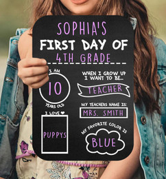 Chalkboard Sign - First Day Chart