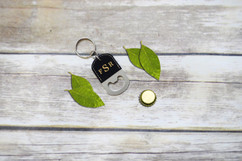 Grpn Spain - Personalized Leather Key Chain Bottle Opener - Masculine Monogram