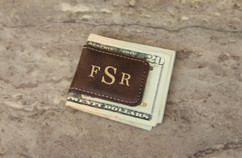 Grpn Spain - Personalized Leather Money Clip - Masculine Monogram