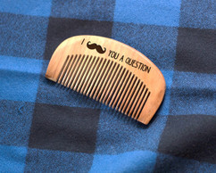 Engraved Comb - Mustache You a Question