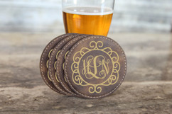 Grpn Spain -  Circle Vine Monogram Leather Coasters