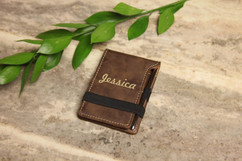 Grpn Spain - Personalized Leather Notepad - Bold Cursive